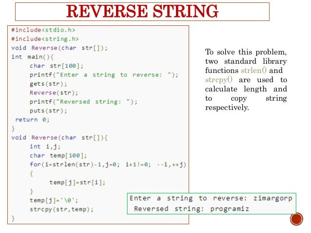 c programming string array example