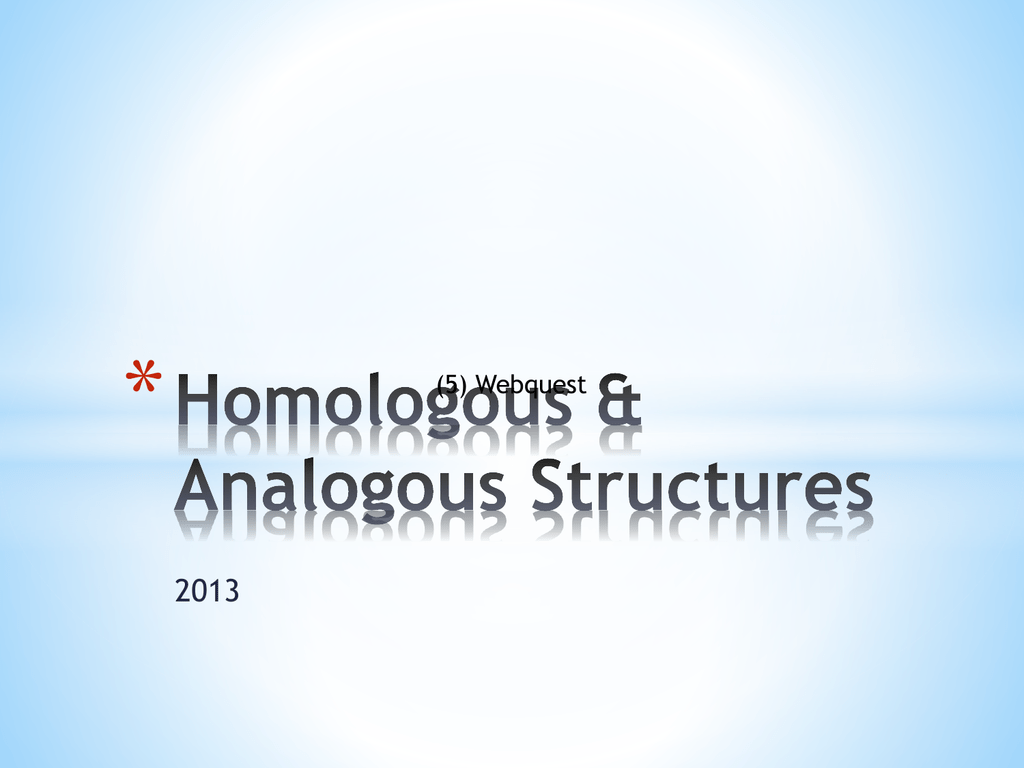 an example of homologous structures is