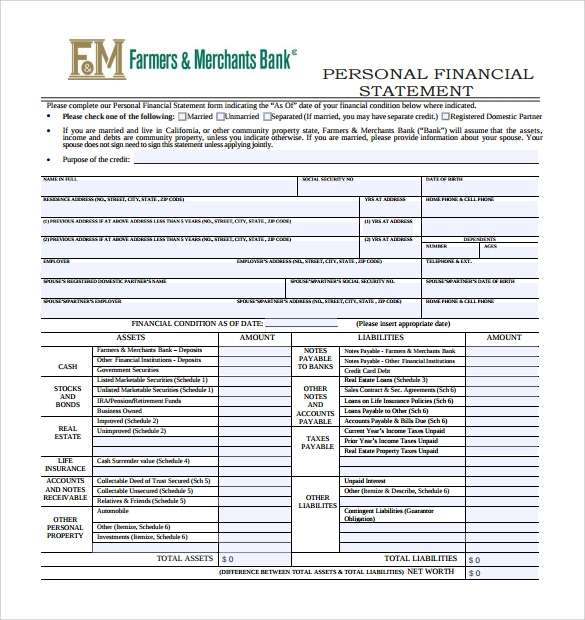 sba personal financial statement example