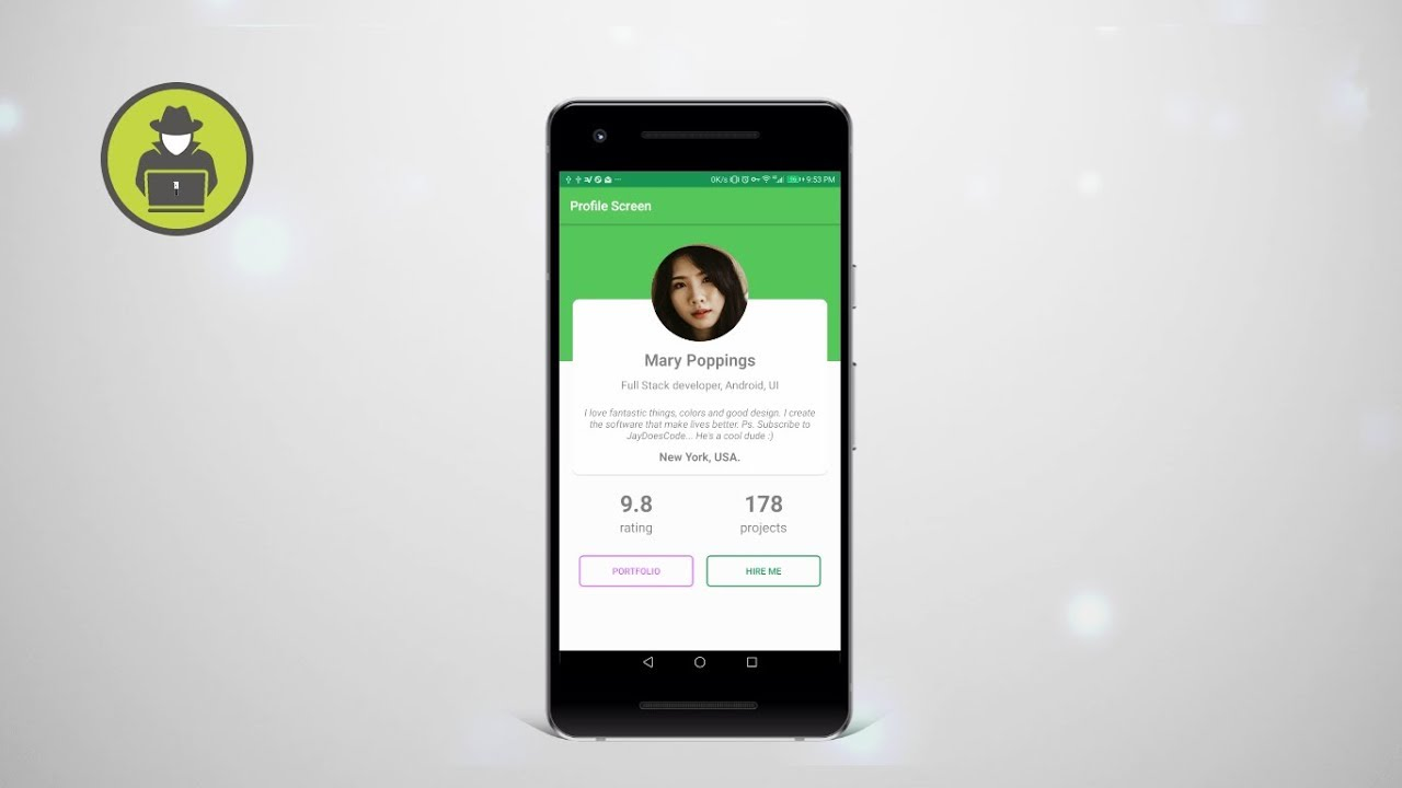profile page design android example