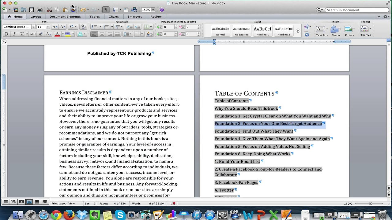 example of properly formatted word ebook