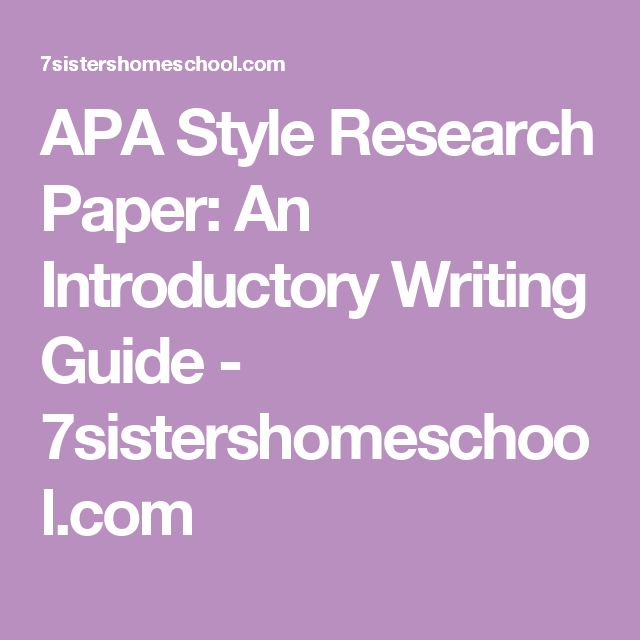 a written example of research paper in apa style