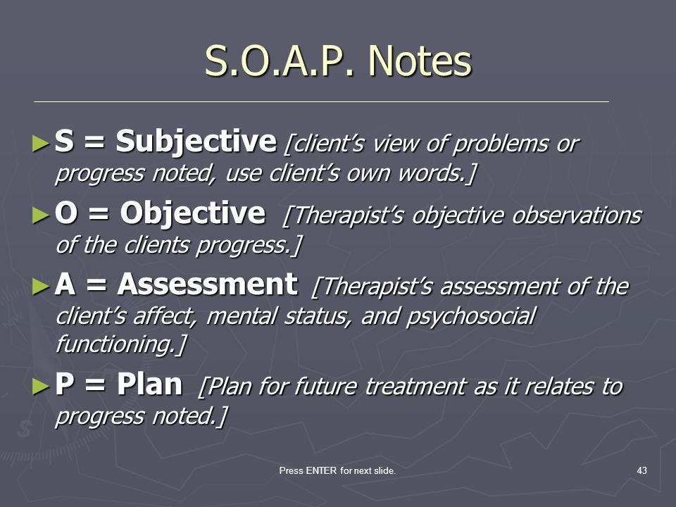 what is an example of a soap note